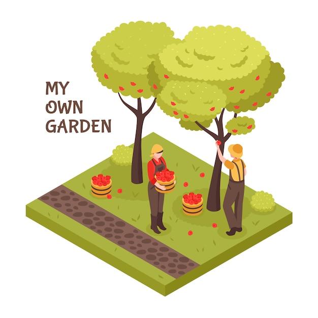 Koncepcja Izometryczny Ogrodnictwo Darmowych Wektorów