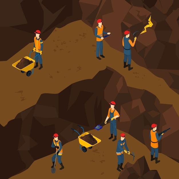 Koncepcja Izometryczny Pracy Górnik Ludzi Darmowych Wektorów