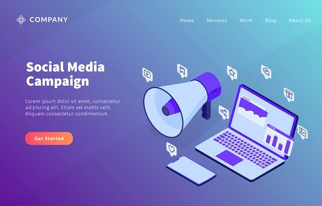 Koncepcja Kampanii W Mediach Społecznościowych Z Analizą Laptopa Dana I Megafonem Głośnego Głośnika Do Szablonu Strony Internetowej Lub Strony Docelowej Premium Wektorów