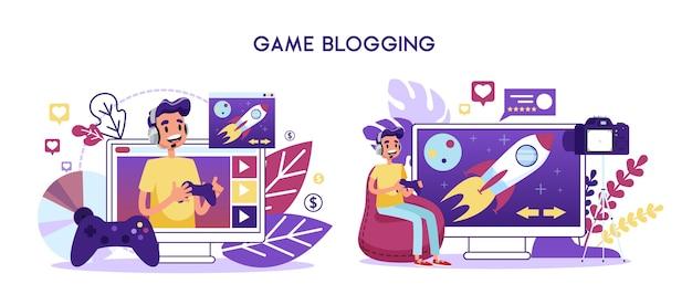 Koncepcja Kanału Wideo Dla Blogera Gry. Gra Postaci Premium Wektorów