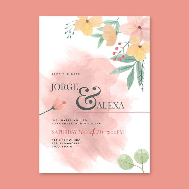 Koncepcja Karty ślubu Kwiatowy Darmowych Wektorów