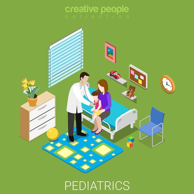 Koncepcja Kliniki Płaskiej Izometrycznej Opieki Zdrowotnej Pediatrii Premium Wektorów
