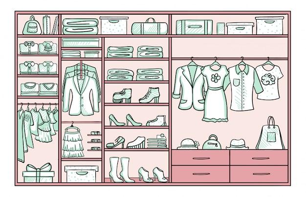 Koncepcja Kobiecej Garderoby Kolorowe Doodle Darmowych Wektorów