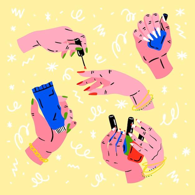 Koncepcja Kolekcji Dłoni Do Manicure Premium Wektorów