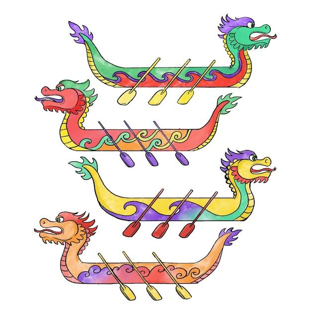 Koncepcja Kolekcji Dragon Boat Darmowych Wektorów
