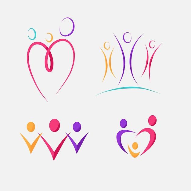 Koncepcja Kolekcji Logo Rodziny Darmowych Wektorów