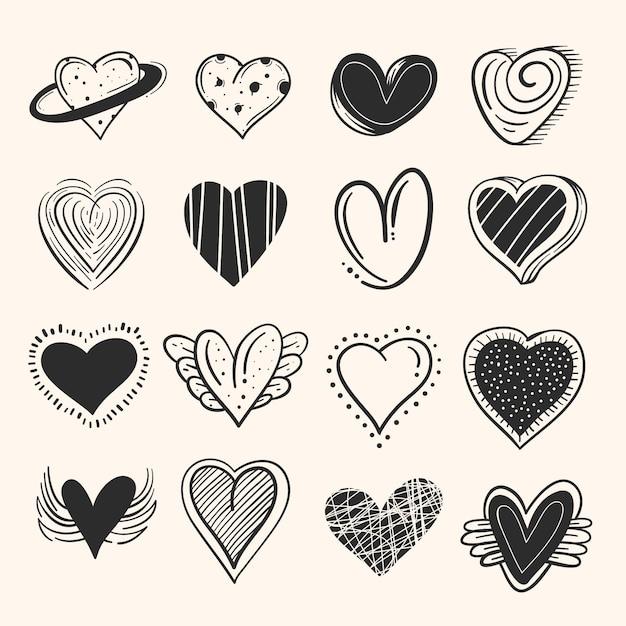 Koncepcja Kolekcji Rysowane Serca Darmowych Wektorów