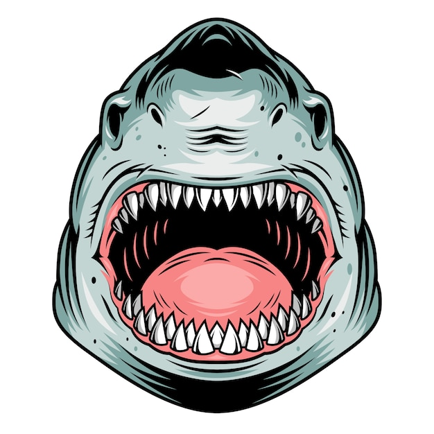 Koncepcja Kolorowy Agresywny Rekin Głowy Darmowych Wektorów