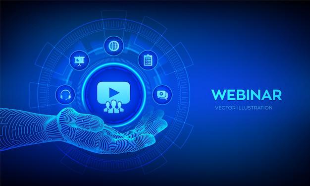 Koncepcja Konferencji Lub Seminarium Internetowego Na Wirtualnym Ekranie. Premium Wektorów
