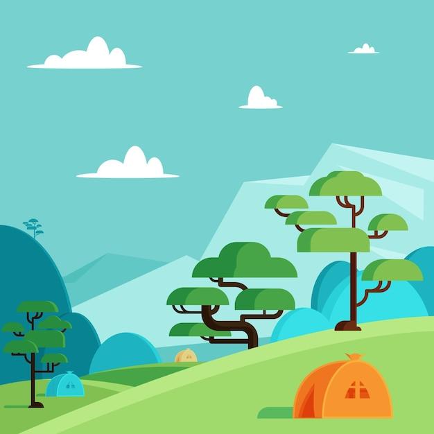 Koncepcja Krajobrazu Obszaru Kempingowego Darmowych Wektorów