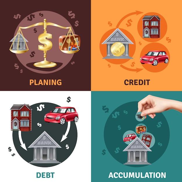Koncepcja Kredytowa Długu 4 Płaskie Ikony Darmowych Wektorów