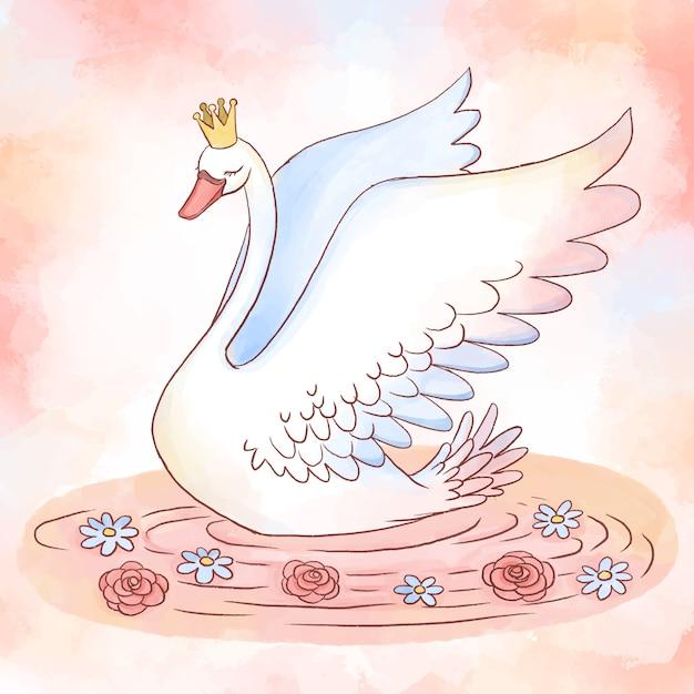 Koncepcja Księżniczki Piękny łabędź Darmowych Wektorów