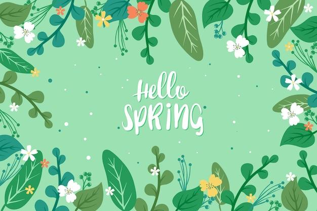 Koncepcja Kwiatowy Witaj Wiosna Premium Wektorów