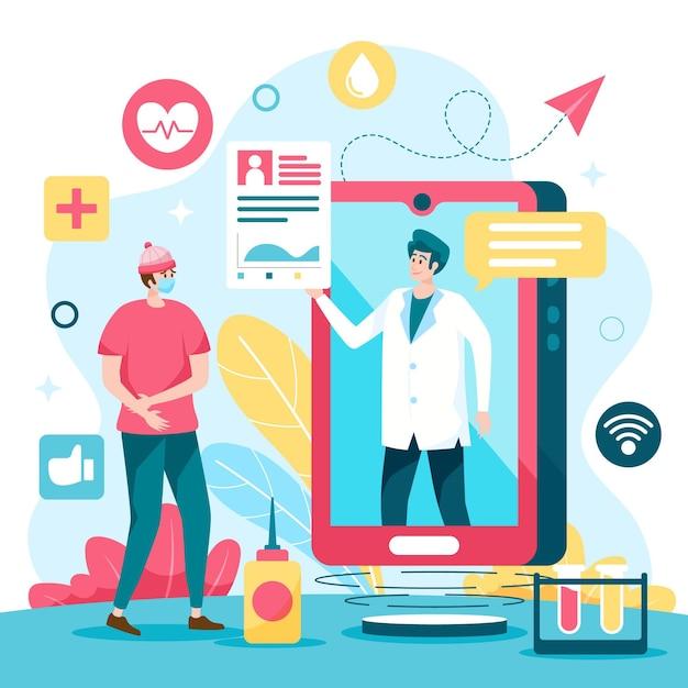 Koncepcja Lekarza Online Darmowych Wektorów