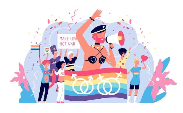 Koncepcja Lgbt. Aktywizm Lgbtq Pride I Prawa Biseksualne, Wesołe święto Gejów I Lizbonów Premium Wektorów