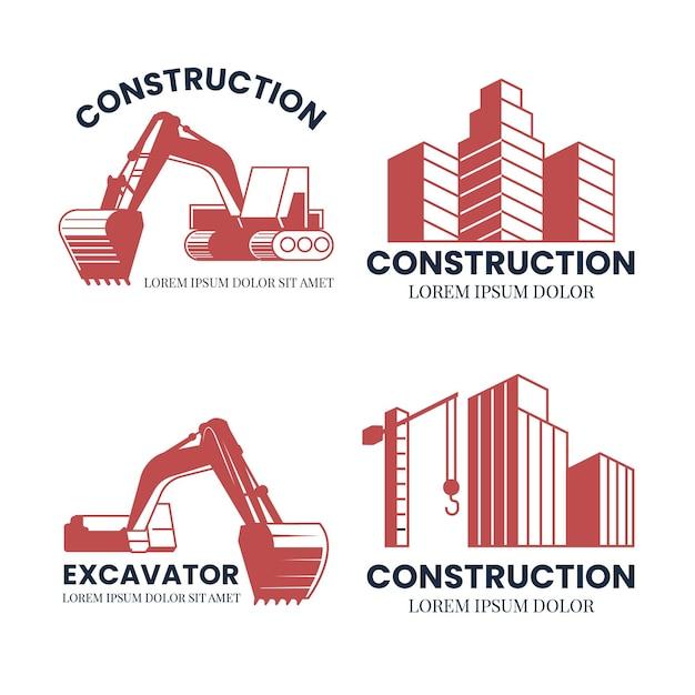 Koncepcja Logo Budowy Koparki Darmowych Wektorów
