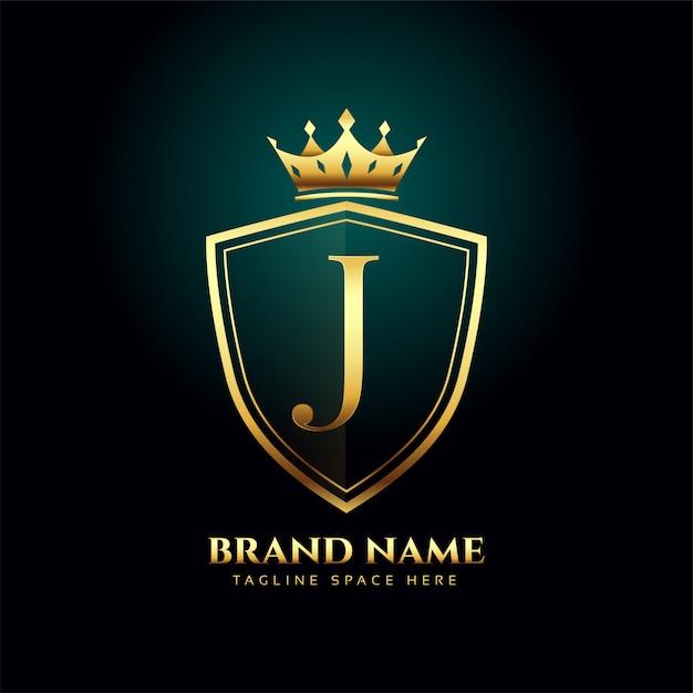 Koncepcja Logo Korona Złote Monogram Litery J Darmowych Wektorów