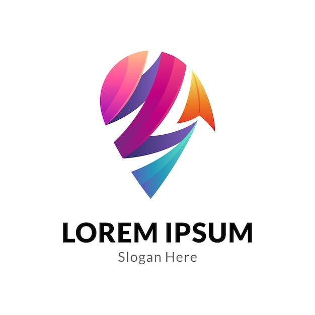 Koncepcja Logo Pin I Strzały Z Wstążką W Stylu 3d Premium Wektorów