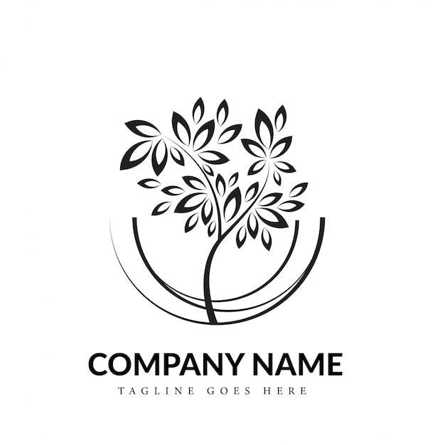 Koncepcja Logo Sztuki Linii Czarno-białe Drzewo Darmowych Wektorów