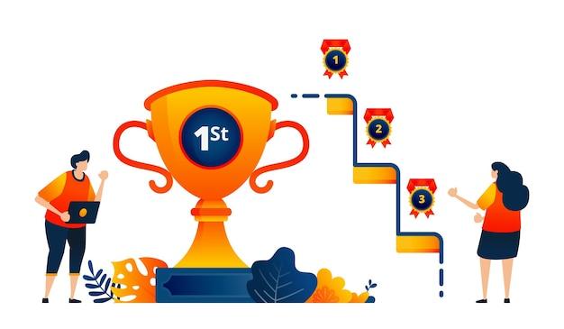 Koncepcja Ludzi Zdobywa Medale Trofeów Za Pierwsze Drugie Trzecie Miejsce świętowanie Zwycięstwa Premium Wektorów