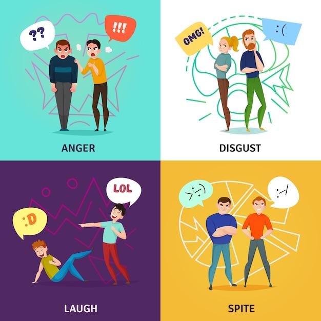 Koncepcja Ludzie I Emocje Ze śmiechu I Gniewu Darmowych Wektorów