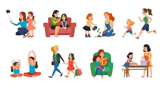 Koncepcja Macierzyństwa. Matki I Córki Rodzinna Pomoc, Bawić Się Lub ściska Ilustracja Set Premium Wektorów