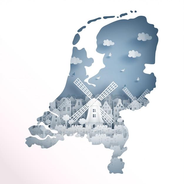Koncepcja Mapę Holandii Z Holenderskiego Wiatraka Na Pocztówkę Podróżną I Plakat Premium Wektorów