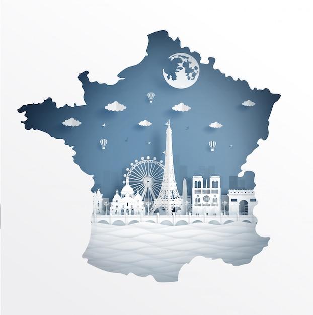 Koncepcja mapę paryża z sławny punkt orientacyjny pocztówka podróżna i plakat Premium Wektorów