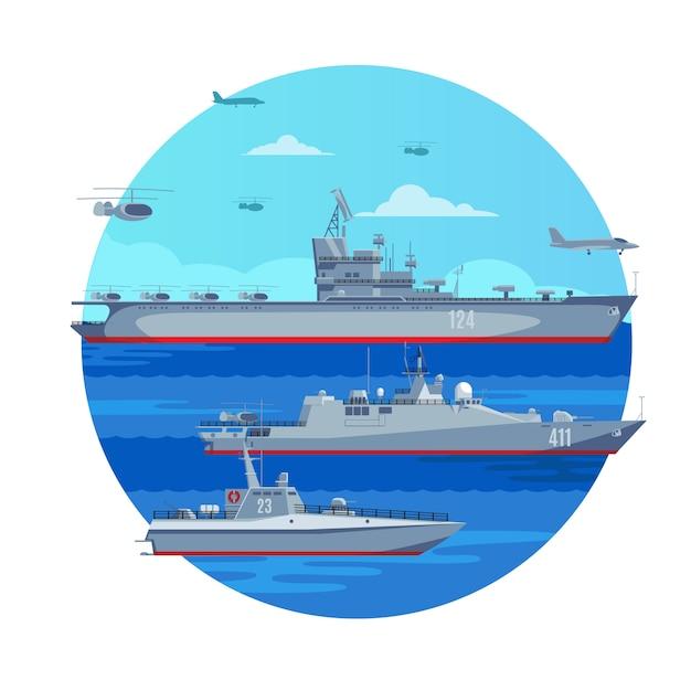 Koncepcja Marine Battle Fleet Darmowych Wektorów