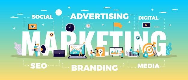 Koncepcja Marketingu Cyfrowego Z Reklamą Online I Symboli Mediów Płaskich Darmowych Wektorów