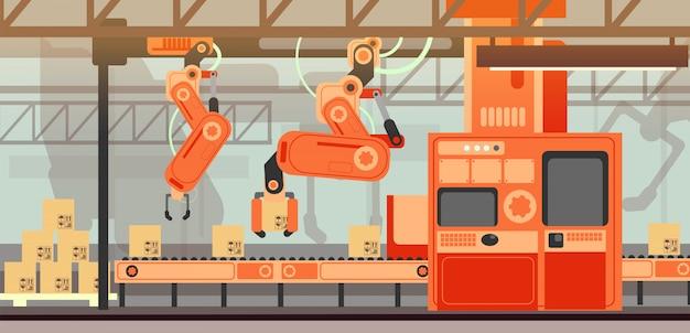 Koncepcja Marketingu Streszczenie Wektor Z Linii Produkcyjnej Montaż Linii Produkcyjnej Przenośnika Premium Wektorów