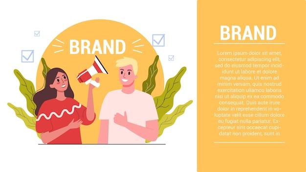 Koncepcja Marki. Wyjątkowe Dla Firmy. Rozpoznawalność Marki Jako Element Strategii Marketingowej. Ilustracja Premium Wektorów