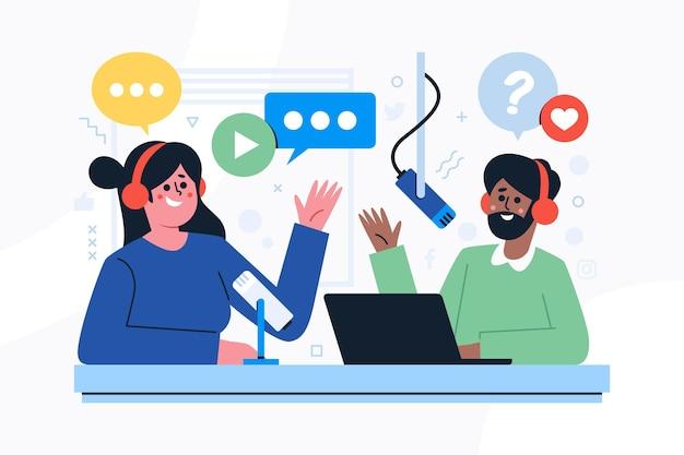 Koncepcja Mediów Społecznościowych Podcast Darmowych Wektorów