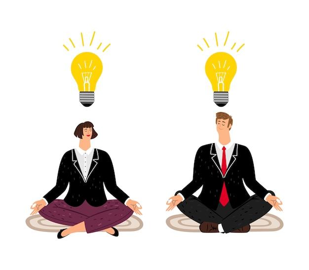 Koncepcja Medytacji. Ludzie Biznesu Znajdują Równowagę. Kreatywne Myślenie W Spokojnym Umyśle Ilustracji Wektorowych. Płaskie Postacie Biznesowe Premium Wektorów