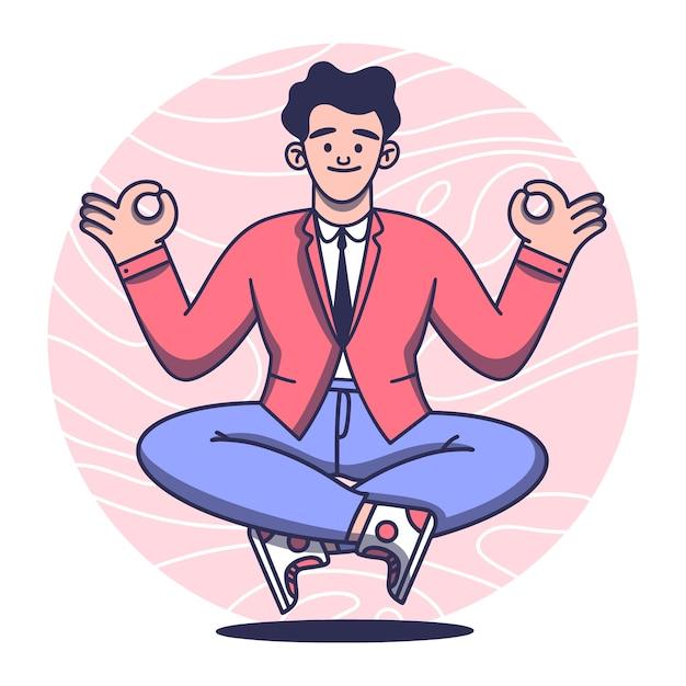 Koncepcja Medytacji Z Mężczyzną Darmowych Wektorów