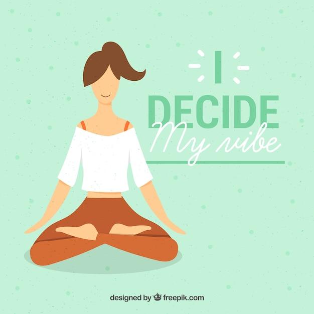 Koncepcja medytacji z sportowy kobieta Darmowych Wektorów