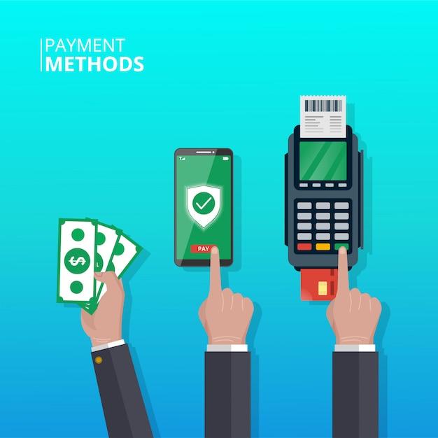 Koncepcja Metod Płatności. Ręka Z Różnymi Metodami Płatności W Transakcjach. Symbol Smartfona, Pieniędzy I Dataphone. Premium Wektorów