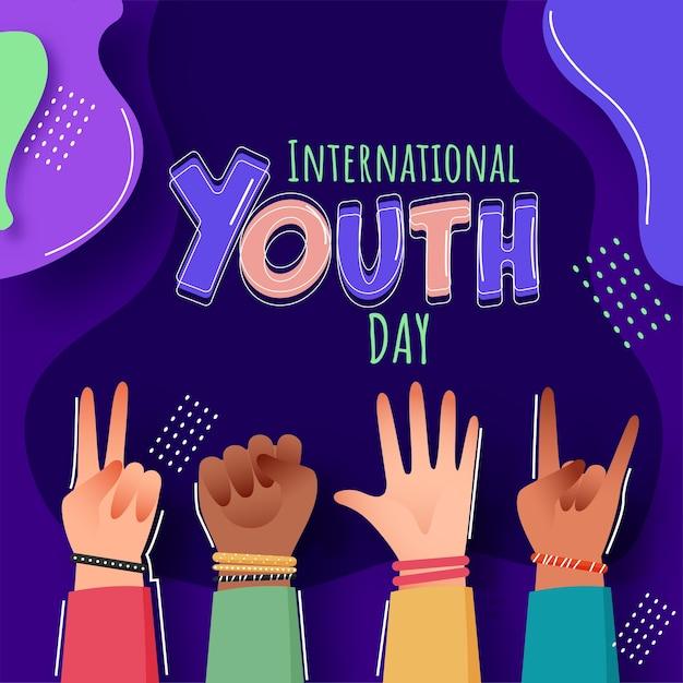 Koncepcja Międzynarodowego Dnia Młodzieży Premium Wektorów