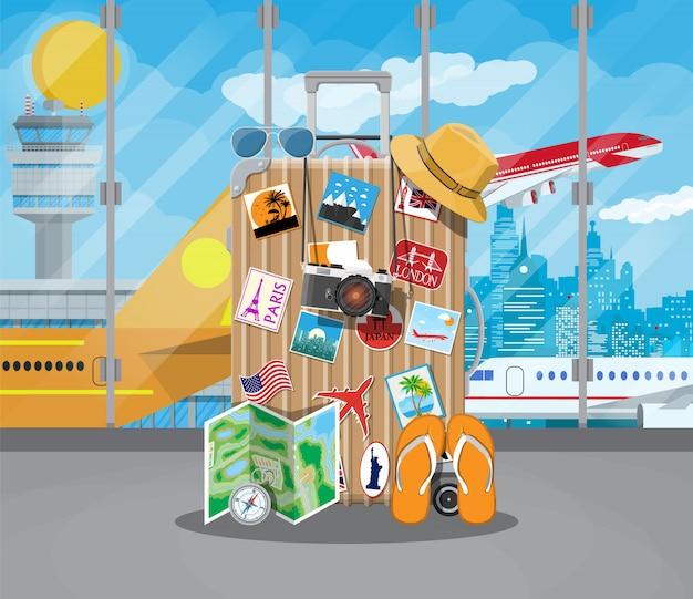 Koncepcja Międzynarodowego Lotniska. Premium Wektorów