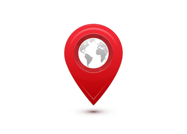 Koncepcja Miejsca Docelowego. Międzynarodowa Podróż Podróżna. Czerwony Wskaźnik Z Szarą Mapą świata W środku. Darmowych Wektorów