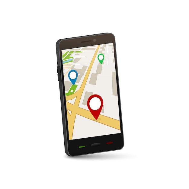 Koncepcja Mobilnej Nawigacji Gps. Aplikacja Map 3d Dla Miejskich Gps. Premium Wektorów