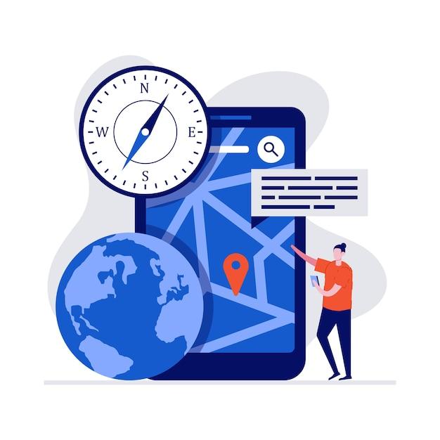Koncepcja Mobilnej Nawigacji Z Charakterem, Dużym Smartfonem, Pinezką Gps I Mapą. Premium Wektorów