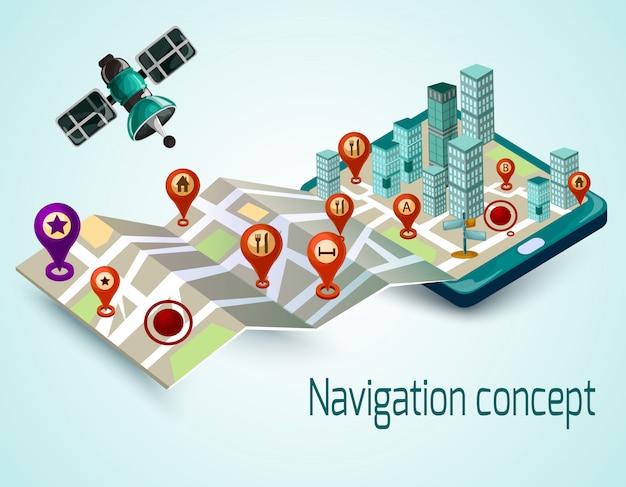 Koncepcja mobilnej nawigacji Darmowych Wektorów