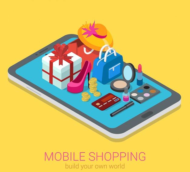 Koncepcja Mobilnych Zakupów Online. Towar Kosmetyki Na Tablecie Izometryczny. Darmowych Wektorów