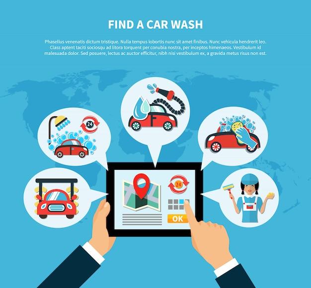 Koncepcja myjni samochodowej Darmowych Wektorów