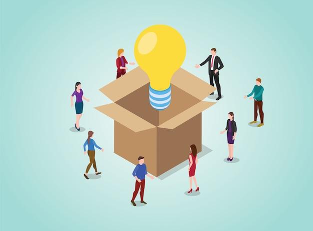 Koncepcja Myślenia Poza Polem Do Rozwiązywania Problemów Z żarówką Z Ludźmi Z Zespołu Premium Wektorów