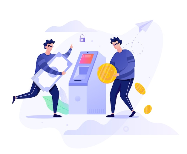 Koncepcja Napadu Na Bankomat. Postać Kryminalna Kradnąca Pieniądze Premium Wektorów