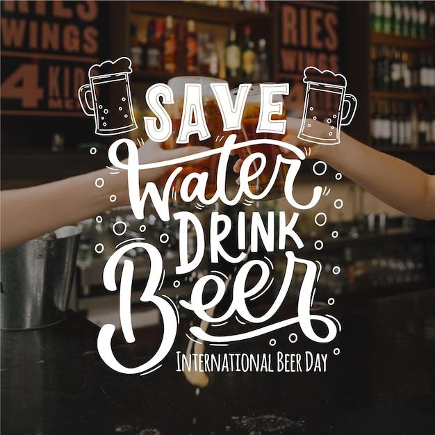 Koncepcja Napis Międzynarodowy Dzień Piwa Darmowych Wektorów