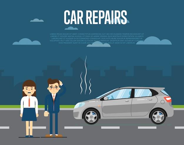 Koncepcja naprawy samochodu z ludźmi Premium Wektorów
