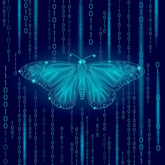 Koncepcja natury technologii, kod binarny motyl życie ekologia inspiracja innowacji Premium Wektorów